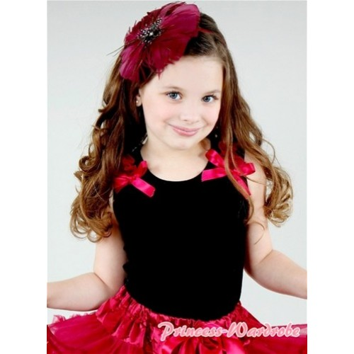 Black Tank Top with Raspberry Ribbon and Raspberry Ruffles T339