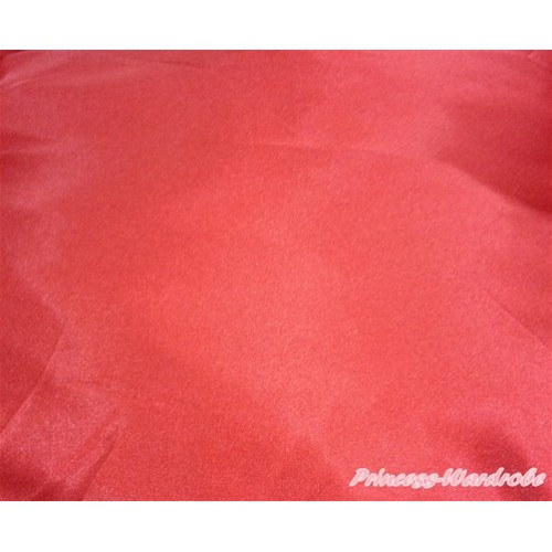 1 Yard Hot Red Solid Color Satin Fabrics HG077