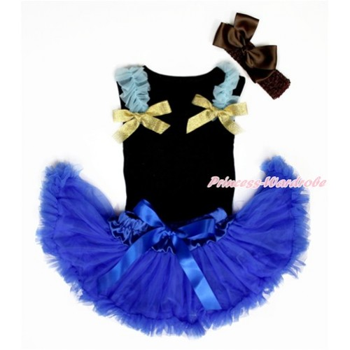 Black Baby Pettitop & Light Blue Ruffles & Sparkle Goldenrod Bow with Royal Blue Newborn Pettiskirt With Brown Headband Brown Silk Bow NG1457
