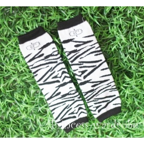 Newborn Baby Black White Zebra Print Leg Warmers Leggings LG23