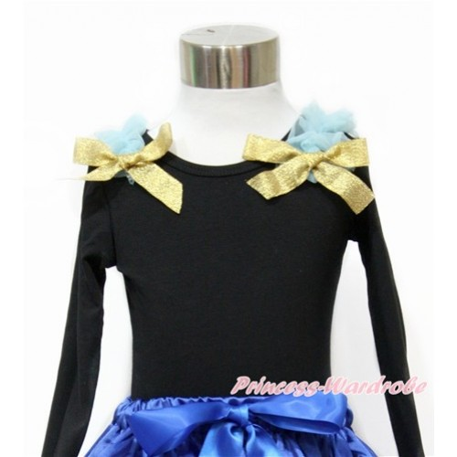 Black Long Sleeves Top with Light Blue Ruffles & Sparkle Goldenrod Bow TO354
