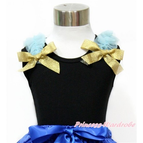 Black Tank Top with Light Blue Ruffles and Sparkle Goldenrod Bow TB757