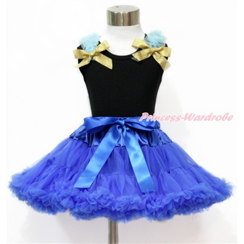 Black Tank Tops with Light Blue Ruffles and Sparkle Goldenrod Bow & Royal Blue Pettiskirt MG1157