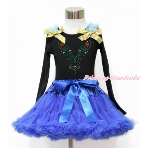 Black Long Sleeve Top with Light Blue Ruffles & Sparkle Goldenrod Bow with Sparkle Crystal Bling Rhinestone Princess Anna Print with Royal Blue Pettiskirt MW470