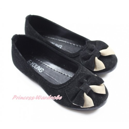 Black With Black Khaki Bow Slip On Girl Shoes A-2Black