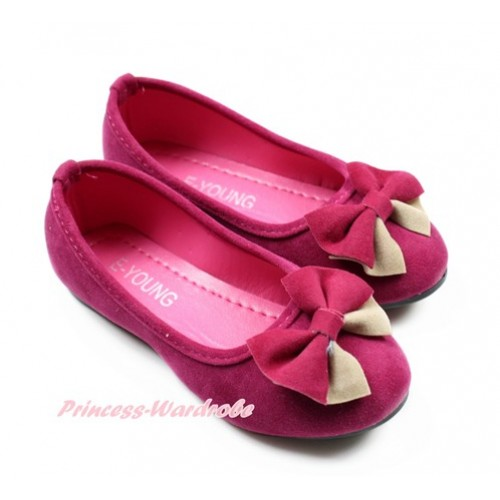 Hot Pink With Hot Pink Khaki Bow Slip On Girl Shoes A-2HotPink
