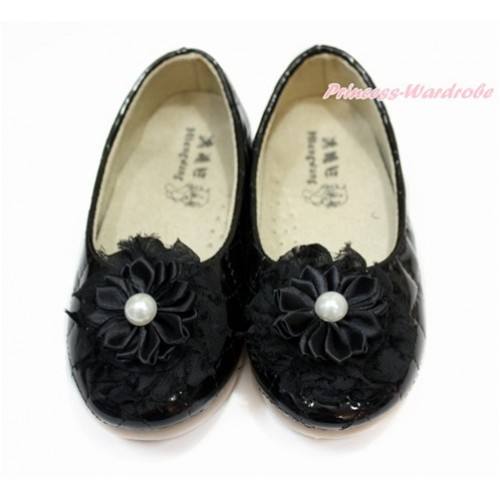 Black Pearl Flower With Black Patent Leather Slip On Girl School Casual Shoes 898Black-3