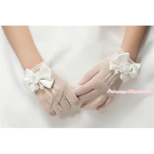 White Pearl Flower Bow With Fishnet Wedding Princess Costume Gloves PG013