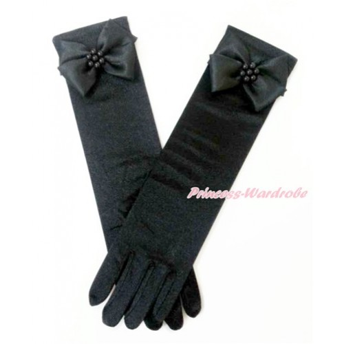 Black Pearl Flower With Black Wedding Elbow Length Princess Costume Long Satin Gloves PG014