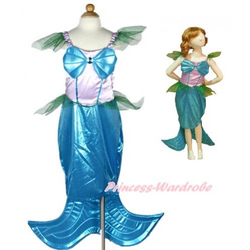 Blue Long Tail Mermaid Dress Up Fancy Costume C246