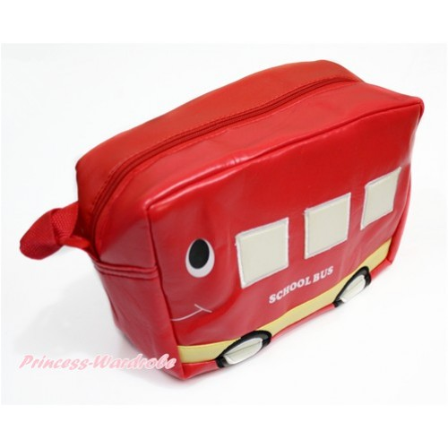 Hot Red School Bus Cute Kids School Zipper Cross Shoulder Bag CB161