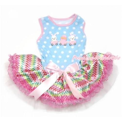 Easter Light Blue White Dots Sleeveless Rainbow Chevron Lace Gauze Skirt With Bunny Rabbit Egg Print With Light Pink Bow Elegent Pet Dress DC121