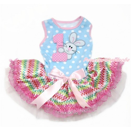 Easter Light Blue White Dots Sleeveless Rainbow Chevron Lace Gauze Skirt With 1st Light Pink White Dots Birthday Number & Bunny Rabbit Print With Light Pink Bow Elegent Pet Dress DC122