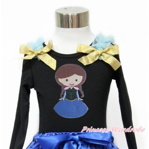 Black Long Sleeves Top With Light Blue Ruffles & Sparkle Goldenrod Bow with Princess Anna Print TO356
