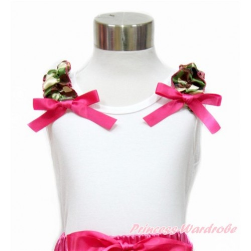 White Tank Top with Camouflage Ruffles and Hot Pink Bow TB759