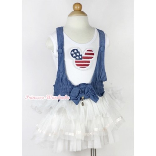 American Striped Stars Minnie Print White Tank Top With Denim White Multi-layer Party Dress PD037-1