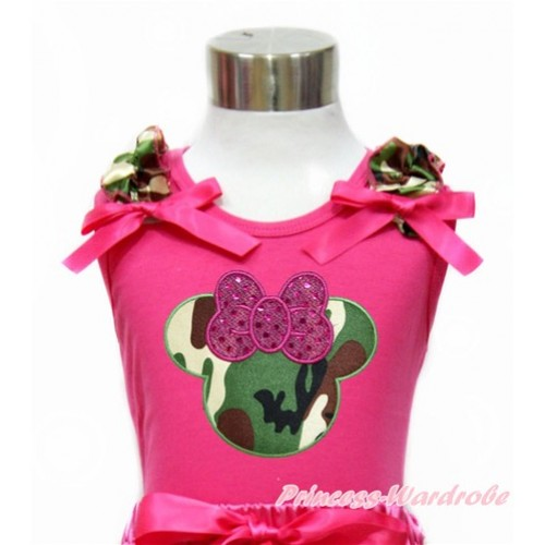 Hot Pink Tank Top with Camouflage Ruffles & Hot Pink Bow With Sparkle Hot Pink Camouflage Minnie Print TM266