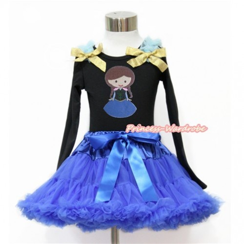 Black Long Sleeve Top with Light Blue Ruffles & Sparkle Goldenrod Bow with Princess Anna Print with Royal Blue Pettiskirt MW471