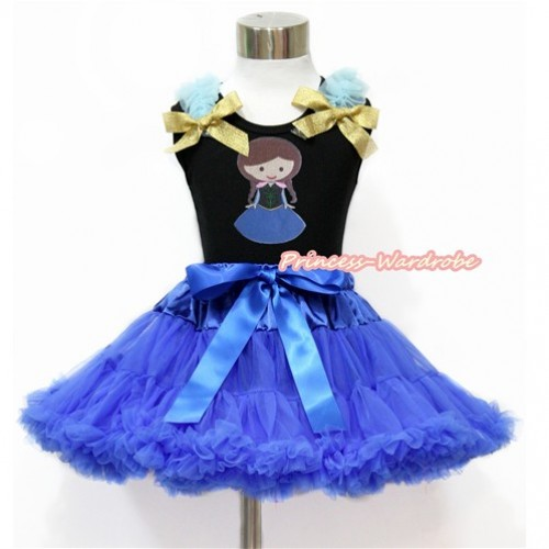 Black Tank Top with Light Blue Ruffles & Sparkle Goldenrod Bow with Princess Anna Print & Royal Blue Pettiskirt MG1158