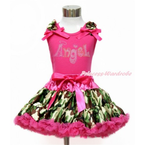 Hot Pink Tank Top with Camouflage Ruffles & Hot Pink Bow with Sparkle Crystal Bling Rhinestone Angel Print & Hot Pink Camouflage Pettiskirt MH208