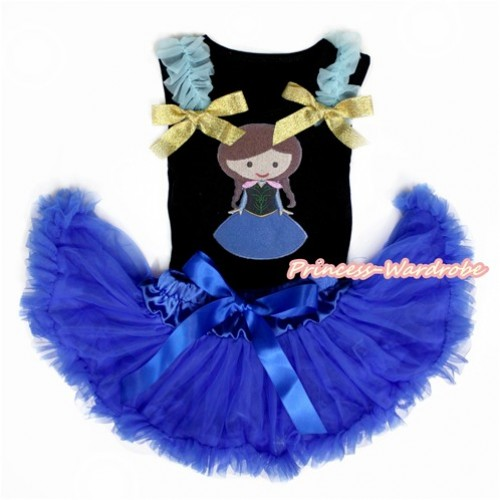 Black Baby Pettitop with Light Blue Ruffles & Sparkle Goldenrod Bow with Princess Anna Print with Royal Blue Newborn Pettiskirt NG1459