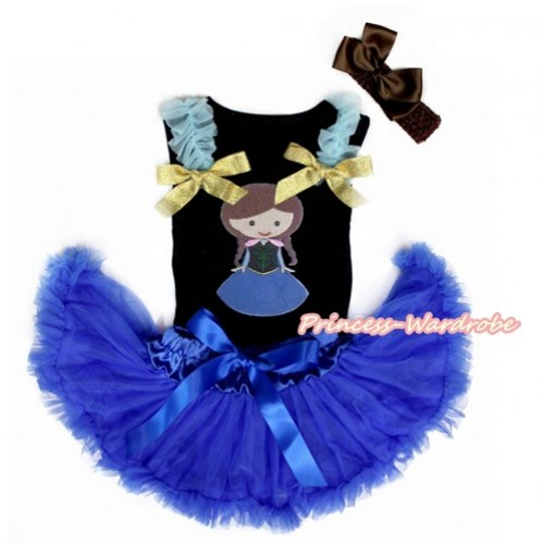 Black Baby Pettitop with Light Blue Ruffles & Sparkle Goldenrod Bows with Princess Anna Print & Royal Blue Newborn Pettiskirt With Brown Headband Brown Silk Bow NG1461