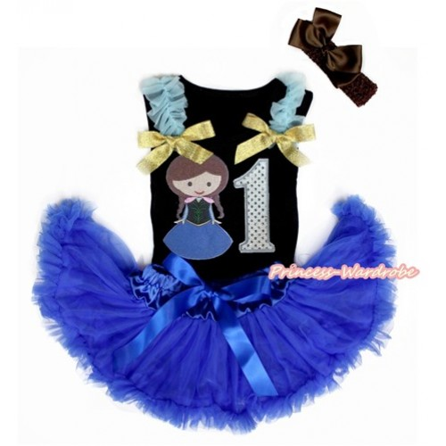 Black Baby Pettitop with Light Blue Ruffles & Sparkle Goldenrod Bows with Princess Anna & 1st Sparkle White Birthday Number Print & Royal Blue Newborn Pettiskirt With Brown Headband Brown Silk Bow NG1462