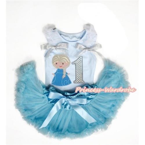 Princess Elsa White Birthday 1ST 2ND 3RD 4TH 5TH 6TH Baby Girl Blue Pettitop