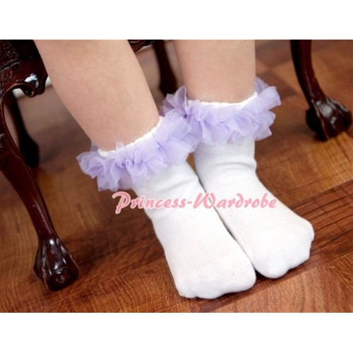 Plain Style Pure White Socks with Lavender Ruffles and Bow H180