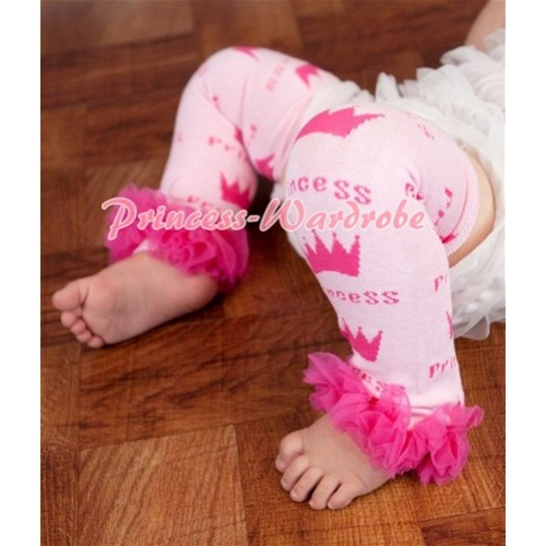 Newborn Baby Princess Logo Light Pink Leg Warmer Legging with Ruffles  LG125