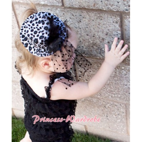 Black White Leopard Hat Clip with Black Feather Polka Dots net H189