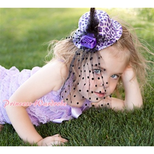 Purple White Leopard Hat Clip with Black Feather Polka Dots net H195