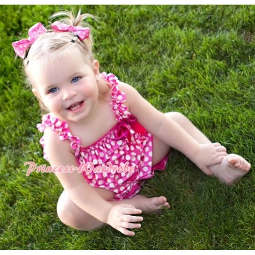 Hot Pink White Polka Dot Chiffon Romper with Hot Pink Bow & Straps LR51
