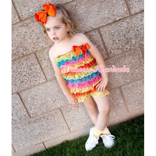 Passion Colorful Rainbow Layer Chiffon Romper with Orange Bow LR62