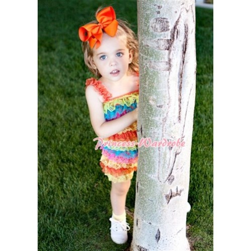 Passion Colorful Rainbow Layer Chiffon Romper with Orange Bow & Straps LR63