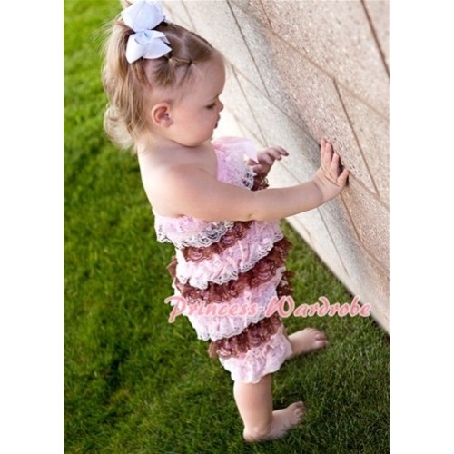 Light Pink White Brown Mix Layer Chiffon Romper with Light Pink Bow LR60
