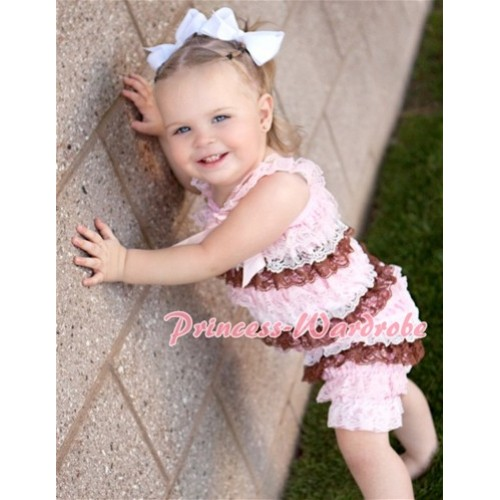 Light Pink White Brown Mix Layer Chiffon Romper with Light Pink Bow & Straps LR61