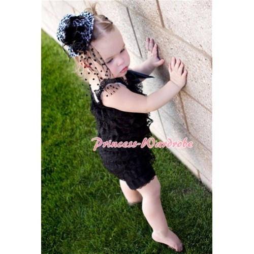 Black Lace Ruffles Petti Rompers with Straps LR16