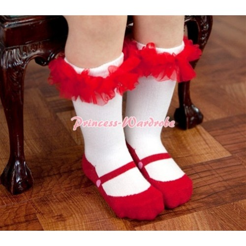 Lovely Red Shoes Socks with Ruffles SK54