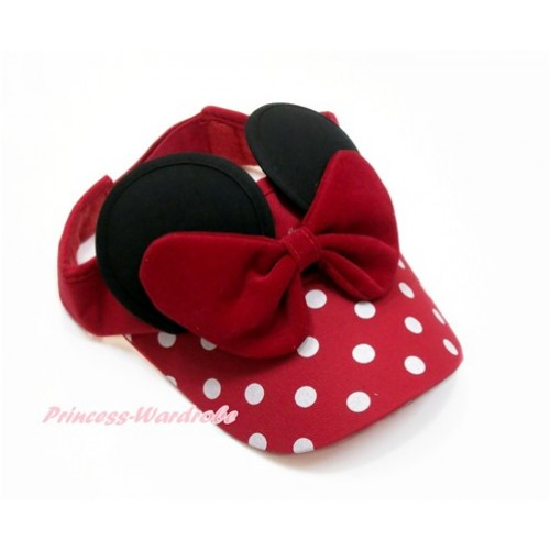 Red Bow Minnie Ear with Red White Dots Adjustable Summer Hat H838