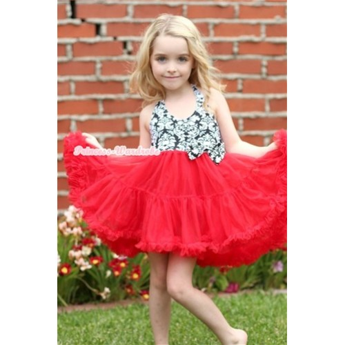 Red Damask with ONE-PIECE Petti Dress with Damask Satin Bow LP17