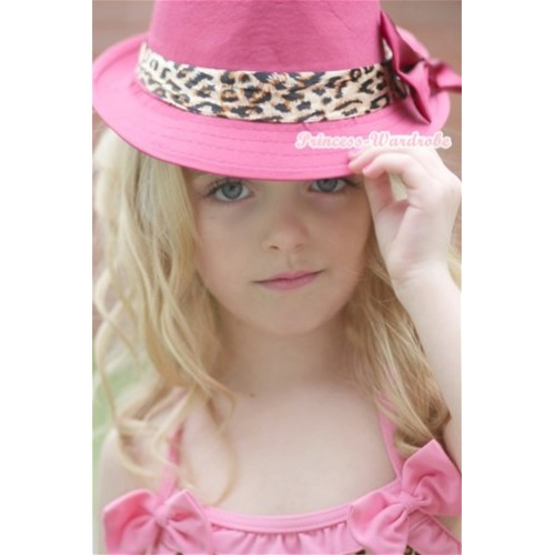 Leopard Lacing Hot Pink Jazz Hat With Hot Pink Satin Bow H597
