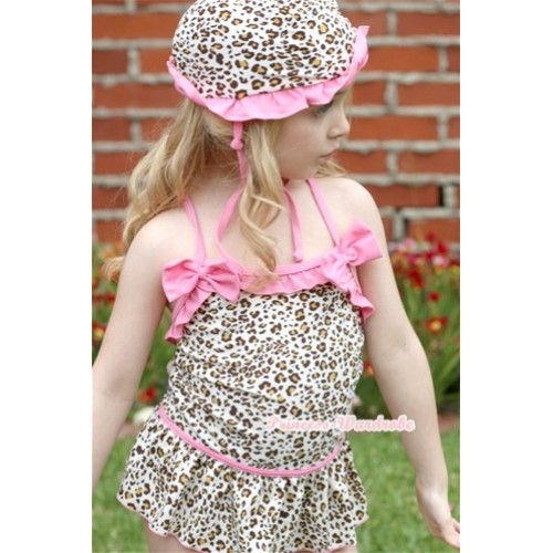 Light Pink Leopard Sweet Swimming Suit with Cap SW46