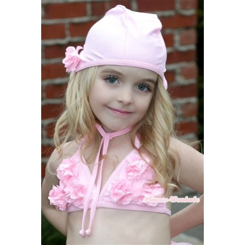 Light Pink Sweet Rosettes Bikini Swimwear with Swim Cap SW49