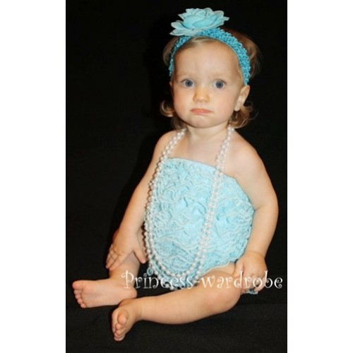 Light Blue Lace Ruffles Petti Rompers LR01