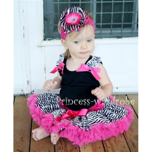 Black Baby Pettitop & Zebra Ruffles & Hot Pink Bow with Hot Pink Zebra Baby Pettiskirt NG201