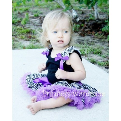 Black Baby Pettitop & Zebra Ruffles & Dark Purple Bow with Dark Purple Zebra Baby Pettiskirt NG203