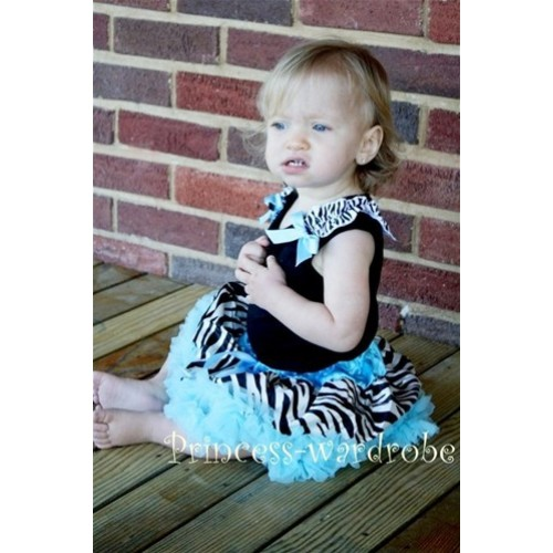 Black Baby Pettitop & Zebra Ruffles & Light Blue Bow with Light Blue Zebra Baby Pettiskirt NG205