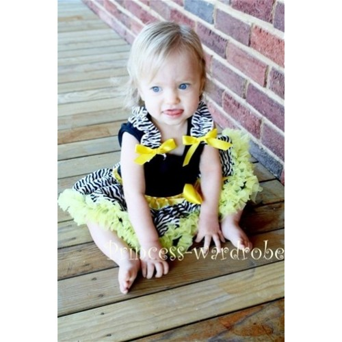Black Baby Pettitop & Zebra Ruffles & Yellow Bow with Yellow Zebra Baby Pettiskirt NG206