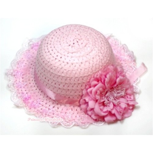 Light Pink White Lace Summer Beach Straw Hat With Light Pink Peony H642